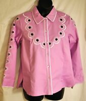women's Bob Mackie wearable art jacket size small light lilac with cutout button