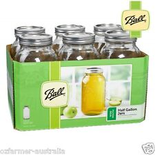Ball Wide Mouth Half Gallon 1893ml Jars with Lids and Bands, Set of 6