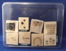 FUN FILLED Flower Candle 8pc Set - Stampin' Up Wood Rubber Stamp in Case