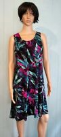 Jostar Aline BLUE and Purple TANK DRESS Wrinkle Free SlinkyTravel Wear Geometric
