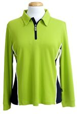Ladies Coolamon Polo with Sports Collar UPF50+ Lime Green Sun Protection