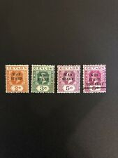 CEYLON Sc# MR1 MR2 MR3 MR4 1918 Set Of 4 Overprint Ovpt WAR TAX Stamps British