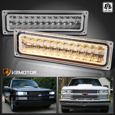 For 1988-1998 Chevy C10 GMC C/K Clear LED Bumper Parking Lights Lamps Left+Right