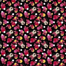 Disney Minnie Mouse Dots and Bows Black Background Cotton Quilting Fabric 1/2 YD