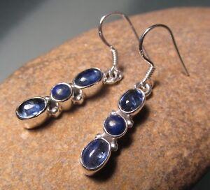 Sterling silver triple cabochon kyanite & lapis lazuli earrings. Gift bag