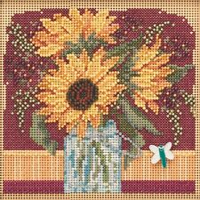 Sunflower Bouquet Cross Stitch Kit Mill Hill 2019 Buttons Beads Autumn Mh141924