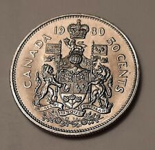 1980 Canada 50 Cents Coin (100% Nickel) - Queen Elizabeth II