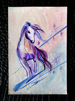 "Original art by Bastet ""White Horse"" OOAK hand painted ACEO"