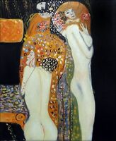 Gustav Klimt Water Snakes Repro, Hand Painted Oil Painting 20x24in