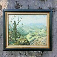 """Peinture encadré """"Paysage du Haut Doubs"""" (signé J.M)"""