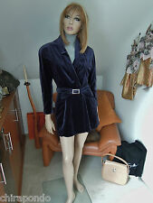Thierry Mugler Veste Blazer Taille 36 Taille 38 Violet Bleu Velours Moelleux LUXE PUR