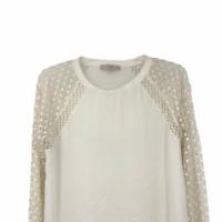 Ann Taylor Loft Womens White Lace Round Neck Raglan Long Sleeve Top Large