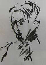 JOSE TRUJILLO MODERN EXPRESSIONIST ORIGINAL CHARCOAL DRAWING ABSTRACT PORTRAIT