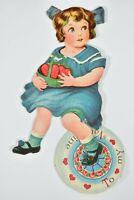 Vintage Die Cut Germany Mechanical Valentine Card Girl Basket Hearts Blue Bow