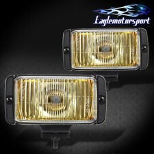Yellow Glass Lens Fog Lights Amber Bumper Lamps w/ Switch Bulb Wiring Pair New