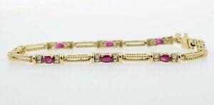 14K Yellow Gold Diamond Tennis Bracelet with Rubys