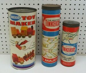 3-Tinker Toys Canisters -Mixed Lot Building 142 Wood / 29 Plastic