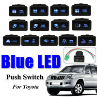 12V Blue LED Horizontal Push Switch Fit For Toyota  Hilux Landcruiser Prado