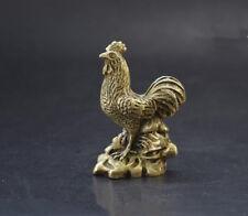 Chinese pure brass zodiac chicken small statue 6cm