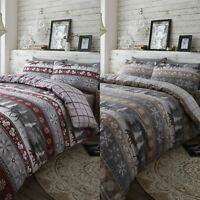 HLC 100% Brushed Cotton Nordic Scandi Hygge Warm Reversible Duvet Cover Set