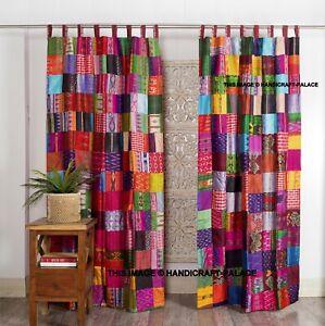 2 Pcs Indian Sari Patchwork Curtain Drape Window Decor Multi Silk Sari Curtains