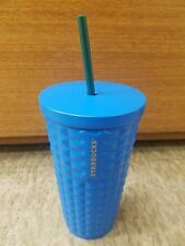 NEW 16 oz Starbucks bright blue beveled textured Stainless Steel cold cup wstraw