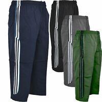 Mens Summer Sports Shorts Running Gym 3/4 Elastic Jogging Stripe Pants S-XXL