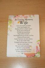 Wife Waterproof Memorial Grave Card Graveside Remembrance Poem Grave Keepsake
