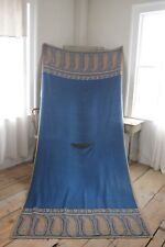 Antique French BLUE  paisley shawl blue woven large RARE c 1850