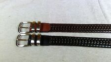 2 Black & Brown Braided Woven Leather Belt Silver Tone Buckle Men's Size 36