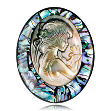 Natural Abalone Shell Cameo Brooch Pin Banquet Weddings Brooch Bridal Gifts 9uk