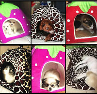 Strawberry Pet Dog Cat Bed House House Soft Kennel Doggy Warm Cushion Basket New