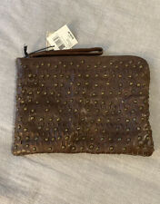 NWT Frye Diana Stud Tech Zipper Pouch Clutch Bag Brown Leather
