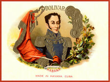 "18x24""Decoration poster.Room Interior art design.Bolivar Cuban cigar label.7452"