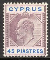 Cyprus 1902 purple/ultramarine 45pi crown CA mint SG59