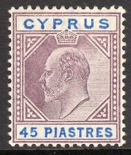 Cyprus 1902 purple/ultramarine 45pi crown CA mint SG59