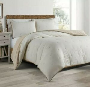 Real Simple Duo King Duvet cover & Coverlet 100% cotton Sausalito Sand - Opened