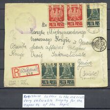 POLAND  ,, RED  CROSS ''  TO  GENEVE  1944-1945  ,, REGISTERED  COVER '',,RARE''