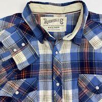 Roebuck & Co Snap Up Shirt Mens 2XL XXL Blue Orange Tan Brushed Cotton Plaids