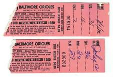 BALTIMORE ORIOLES~ Pair of 1980 Tickets ~ vs Red Sox & Royals ~ FREE SHIPPING