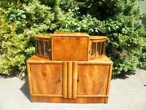 English Art Deco Walnut Desk Bookcase China Cabinet 1920-40s