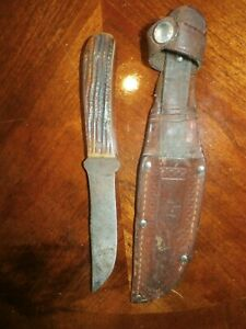 Vintage Antique Queen City Fixed Blade Knife & Sheath w/ Stag Antler Bone Handle