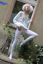 pierre cardin Strumpfhose Spitzen leggins Hose TRUE VINTAGE 90er leggins white