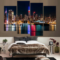 Empire State Building NYC At Night 4 Panel Canvas Print Wall Art