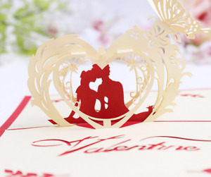 3D Card Pop Up Card Greeting Card LOVE Wedding Kiss Valentines Anniversary Teamo