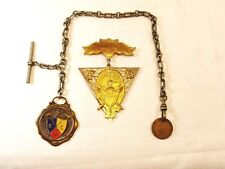 """Vintage Knights Of Pythias Watch Fob, 10"""" T Bar Chain, Medal and Penny F C B"""