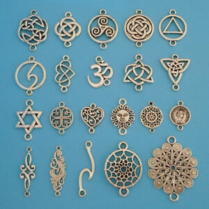 10 x Tibetan Silver Tone Connector Charms Pendants Findings for Bracelet Making
