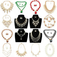 New Fashion Women Resin Pearl Chain Chunky Choker Statement Pendant Bib Necklace