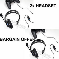 2X DELUXE HEADSET HEADPHONE WITH MICROPHONE VOLUME CONTROL FOR PS4 CONTROLLER PC