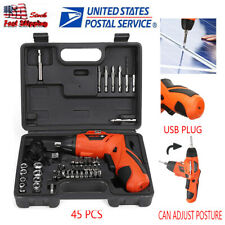 45PC Power Tool Rechargeable Cordless Electric Screwdriver Drill Kit Wireless US